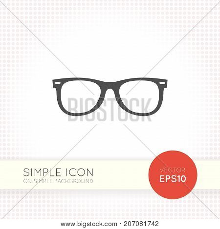 Universal flat glasses icon. Vector eyeglasses eps. Illustration element for modern design or user interface of website, app, application. Dark gray object isolated on simple white background.