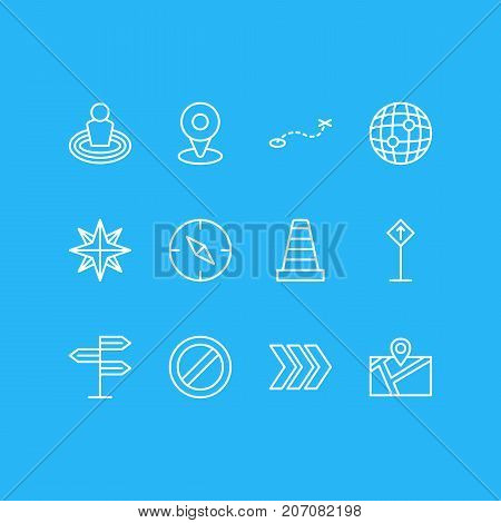Editable Pack Of Location, Direction, Caution And Other Elements.  Vector Illustration Of 12 Location Icons.