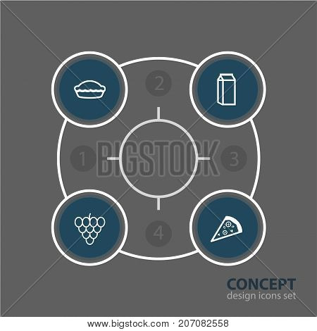 Editable Pack Of Bunch Of Grapes, Milk, Flan And Other Elements.  Vector Illustration Of 4 Food Icons.
