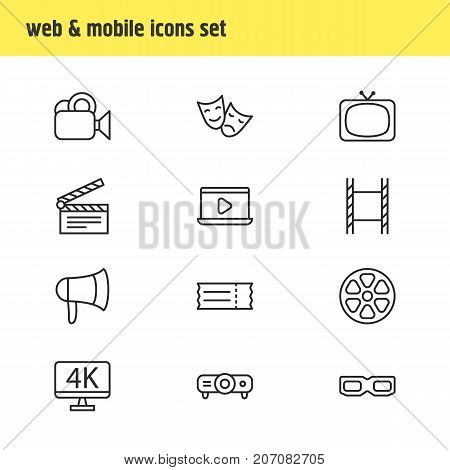Editable Pack Of Spectacles, Tragedy, Coupon And Other Elements.  Vector Illustration Of 12 Film Icons.
