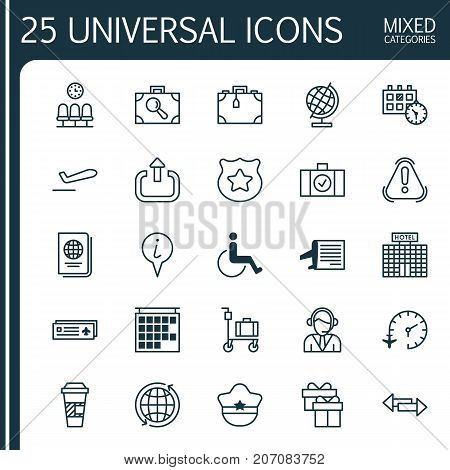 Travel Icons Set. Collection Of Suitcase Pushcart, Departure Information, Present And Other Elements