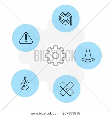Editable Pack Of Exclamation, Taper, Adhesive And Other Elements.  Vector Illustration Of 5 Extra Icons.