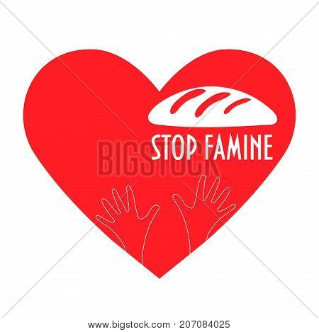 Stop Hunger, Malnutrition or Starvation vector illustration. Great as donation, relief or help icon for fight with famine and poverty. Heart, Helping Hands and bread silhouette, text Stop Hunger.