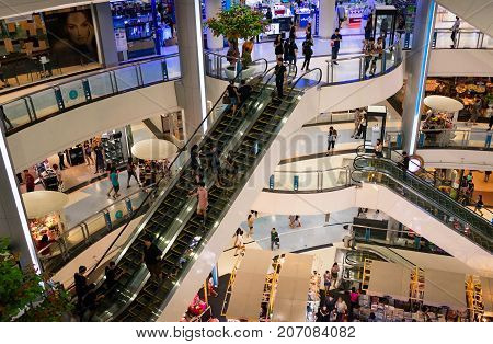 BANGKOK THAILAND - OCTOBER 01: CentralPlaza Rama II shopping mall opens to the public during usual business hours on October 01 2017 in Bangkok.