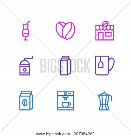 Editable Pack Of Mocha, Coffeemaker, Mill And Other Elements.  Vector Illustration Of 9 Coffee Icons.
