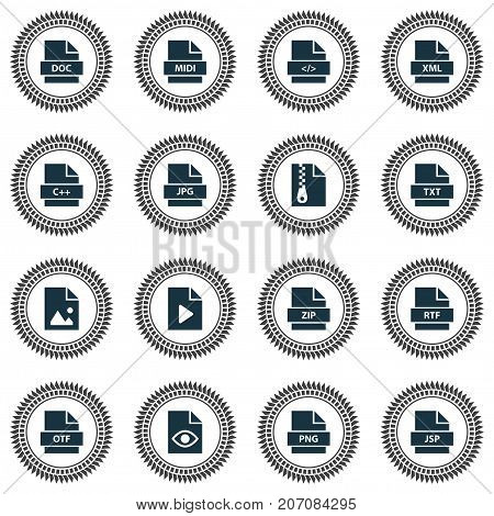 Document Icons Set. Collection Of Midi, Document, Jsp And Other Elements