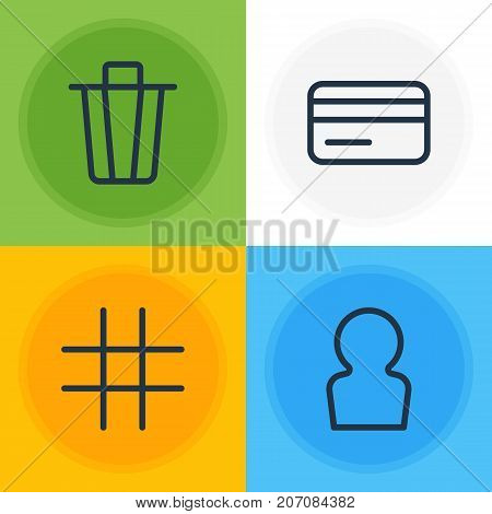 Editable Pack Of Payment, Lattice, Garbage Container And Other Elements.  Vector Illustration Of 4 Annex Icons.
