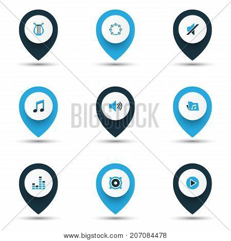 Music Colorful Icons Set. Collection Of Harp, Mixer, Tambourine And Other Elements