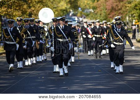 Szczecin Poland 30 september 2017: The naval orchestra playing the parade of Maritime University in Szczecin.