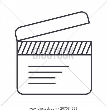 movie clapper vector line icon, sign, illustration on white background, editable strokes