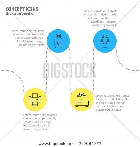Editable Pack Of Sound Recording, Usb Card, Modem And Other Elements.  Vector Illustration Of 4 Device Icons.
