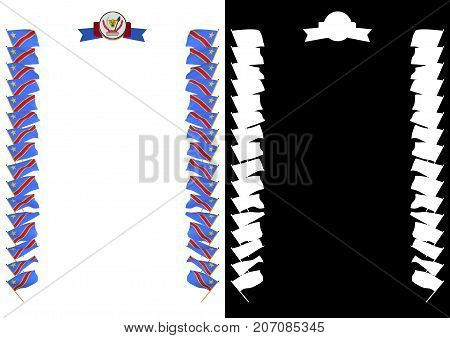 Frame And Border With Flag And Coat Of Arms Democratic Republic Of The Congo. 3D Illustration