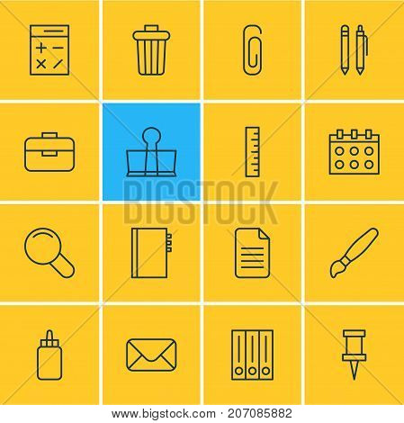 Editable Pack Of Garbage Container, Pushpin, Paperclip And Other Elements.  Vector Illustration Of 16 Stationery Icons.