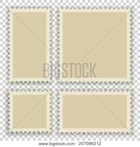 Blank postage stamps. Realistic vector with shadows on transparent background.