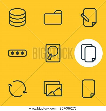 Editable Pack Of Agreement, Parole, Synchronize And Other Elements.  Vector Illustration Of 9 Archive Icons.