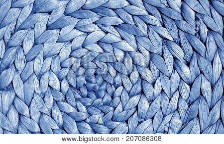 Blue Color Straw Mat Surface With Round Pattern.
