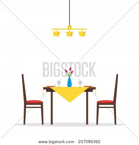 Dining table and chairs for two people. Vase with flowers plates and two glasses. Romantic morning breakfast. Vector illustration in flat style isolated on white background