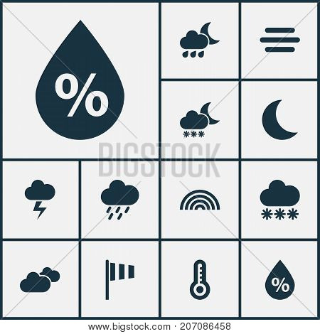 Climate Icons Set. Collection Of Douche, Moon, Temperature And Other Elements