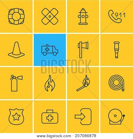 Editable Pack Of First-Aid, Taper, Spike And Other Elements.  Vector Illustration Of 16 Emergency Icons. poster