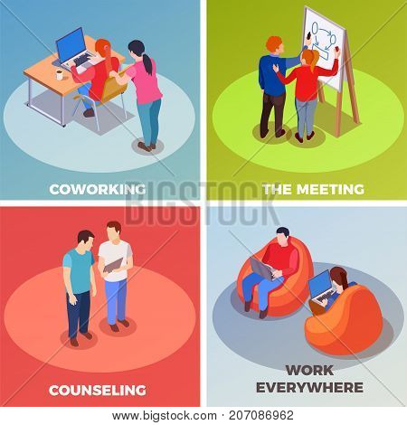 Coworking people isometric 2x2 design concept with compositions of human characters in coworking space with text captions vector illustration