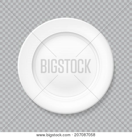 White realistic plate top view with shadow isolated vector object on a transparent background. Empty dish for food. Kitchen dishware. Template for food presentation. Illustration for your projects.