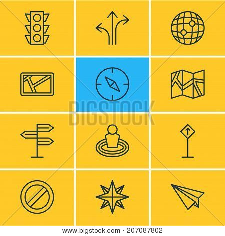 Editable Pack Of Guidepost, Paper Geography, Orientation And Other Elements.  Vector Illustration Of 12 Location Icons.