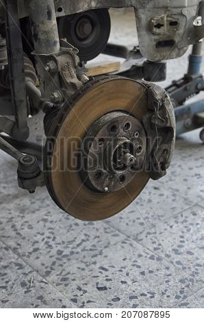 View of disc brake of a crashed car