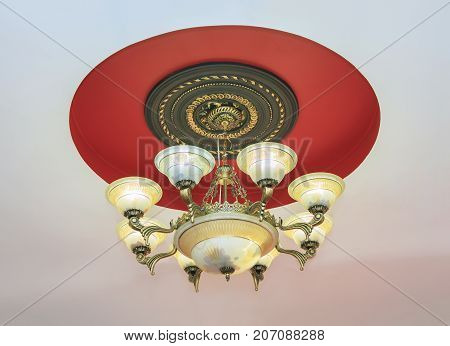 Large crystal chandelier in baroque style close up
