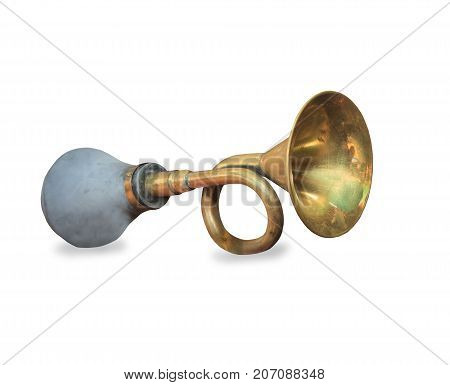 Vintage car horn or klaxon isolated on white background