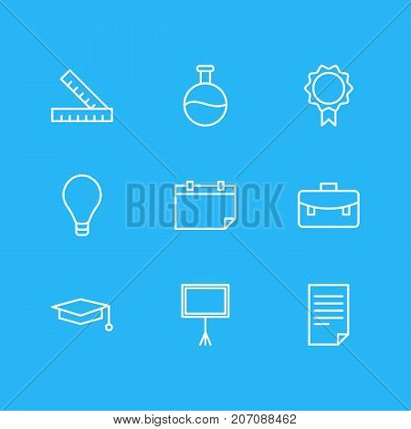 Editable Pack Of Bulb, Portfolio, Tube And Other Elements.  Vector Illustration Of 9 Science Icons.