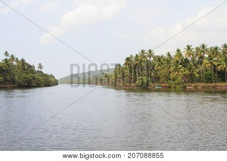 Tiracol river at sunny day Goa India