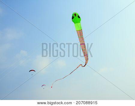 Goa India - February 10 2016: Big kite snake flying over blue sky