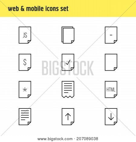Editable Pack Of File, Upload, Basic And Other Elements.  Vector Illustration Of 12 Page Icons.