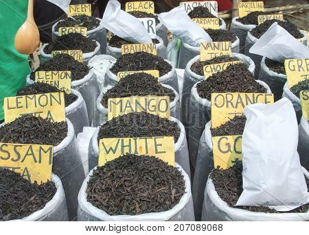 Different aroma tea at the market close up