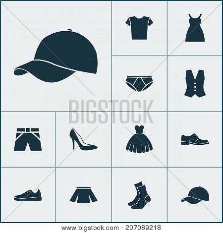 Garment Icons Set. Collection Of Waistcoat, Half-Hose, Heel Footwear And Other Elements