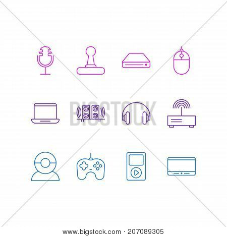 Editable Pack Of Video Chat, Computer, Media Controller And Other Elements.  Vector Illustration Of 12 Device Icons.