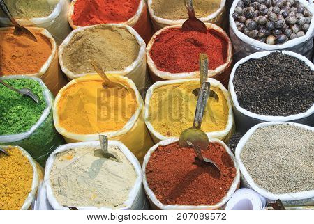 Assortment of powder spices at the market