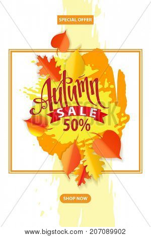 Autumn sale poster. Fall promotion. Hand lettering