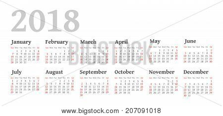 Vector Simple 2018 year calendar. Week starts from Sunday eps 10