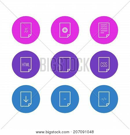Editable Pack Of HTML, Style, Munus And Other Elements.  Vector Illustration Of 9 Document Icons.