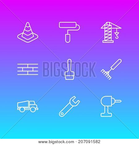 Editable Pack Of Roller, Lorry, Lifting And Other Elements.  Vector Illustration Of 9 Structure Icons.