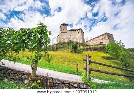 Landscape view on Balzers castle in Liechtenstein