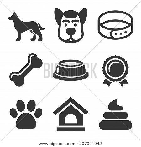 Dog Icons Set on White Background. Vector illustration