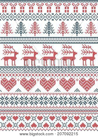 Scandinavian, Nordic style winter stitching Christmas pattern including snowflakes, hearts, Christmas present, snow, star, Christmas tree, reindeer and decorative ornaments in red, white. blue
