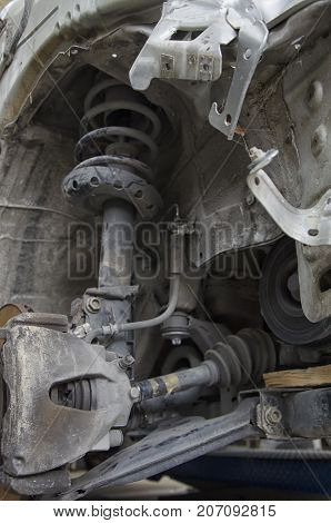 View of the shock absorbers of a crashed car