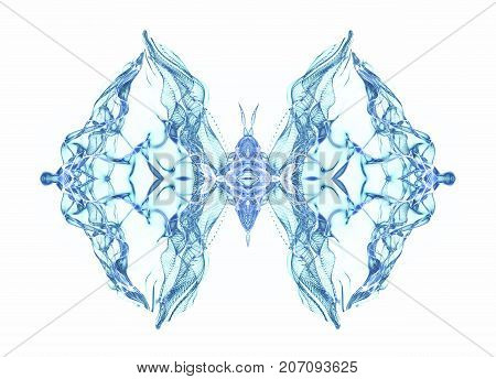 Abstract conceptual design. Blue butterfly over white background