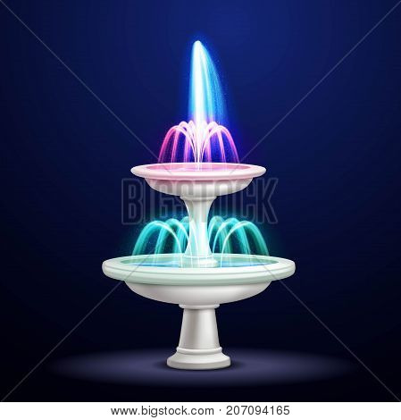 Outdoor water cascade fountain with neon lighting at night realistic closeup image isolated object vector illustration