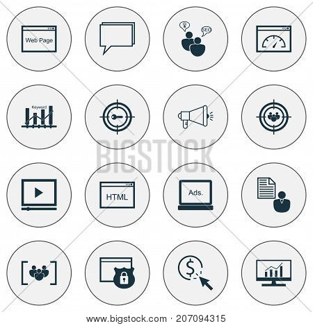 SEO Icons Set. Collection Of Media Campaign, Focus Group, Keyword Marketing And Other Elements