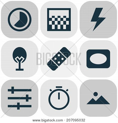 Photo Icons Set. Collection Of Setting, Chessboard, Tree And Other Elements