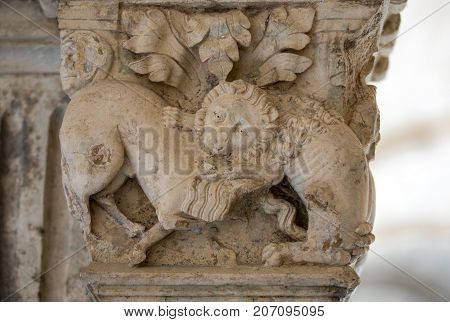 Fight Between Lion and Bull (c12th) Romanesque Carving Cloisters Montmajour Abbey near Arles Provence France